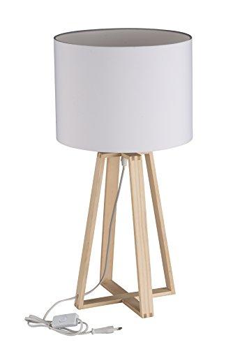 Grundig Tischlampe 62,5 cm mit 1,2 m Kabel, Holz, weiß, 30 x 30 x 61 cm