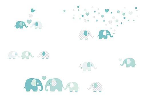 lovely label Pegatinas Infantiles de Pared de Elefante - Adhesivo Infantil Libre de PVC para Habitaciones de Niños y Bebés - Adhesivos Infantiles de 60 unidades/Menta & Gris