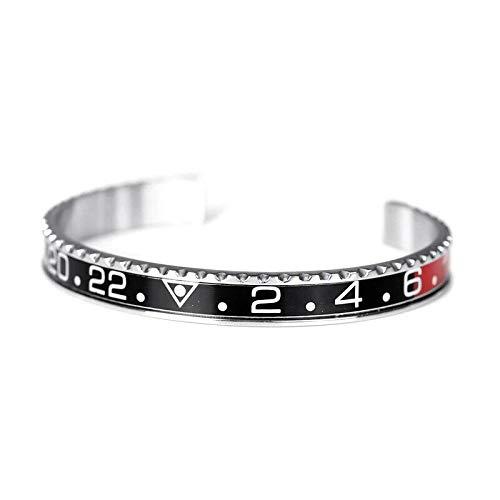 Herren-Armband aus Stahl, emailliert, in Rolex-ähnlicher Optik, schwarz und rot - Rolex Box