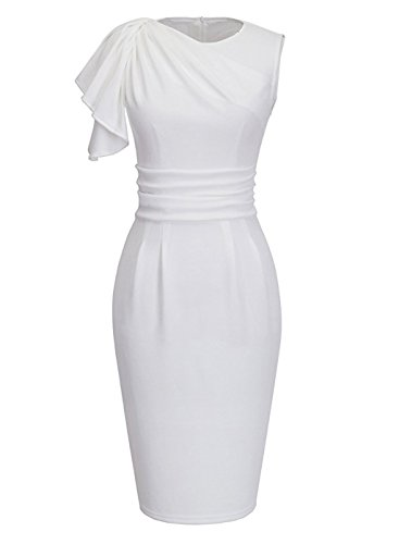 WCOCOW Damen Kurzarm Knielang Celeb Stil Etuikleid Blumenabend Party Business Abendkleid Cocktail Pencil Kleid (S, White) (Fantastisches Prom-kleid)