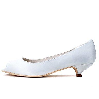 Rtry Femme Chaussures Formelles Chaussures De Mariage En Satin Printemps Eté Mariage Party & Amp; Robe De Soirée Chunky Heel Blanc Noir 1a-1 3 / 4en Blanc Us8.5 / Eu39 / Uk6.5 / Cn40 Us8.5 / Eu39 / Uk6.5 / Cn40