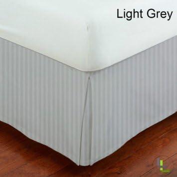Dreamz Parure de lit Super Doux Coton Creux égyptien 650 Fils Finition élégante 1PC en pli Creux Coton Jupe de lit (Drop Longueur: 76,2 cm) Euro Double IKEA, Gris argenté à Rayures 07d6b2