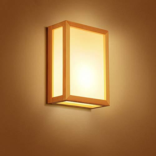 Ganeep Creative Japonais En Bois Massif Double Tête Applique Murale Chambre Chevet Salon Allée Étude Mur Lanterne Projecteurs Simple Moderne E27 Mur Lampe