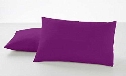 ESTELA - Funda de Almohada Combi Liso Color Morado - 2 Piezas de 50x80 cm - 50% Algodón-50% Poliéster...
