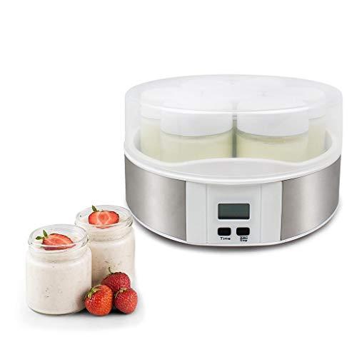 Todeco - Yogurtera, Máquina para Yogur Natural y Saludable - Capacidad por frasco: 0,21 L - Potencia: 15 W - 7 tarros, con el contador de tiempo, 23 x 23 x 12 cm, Blanco