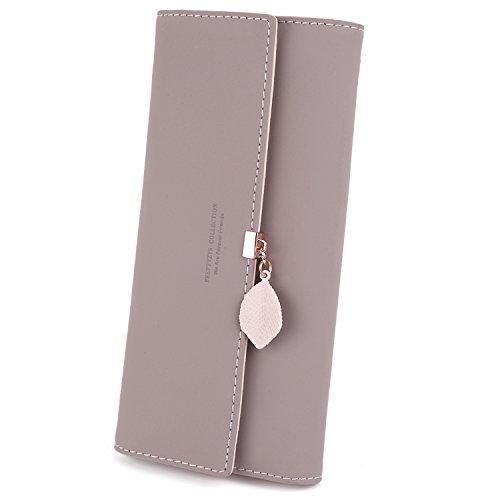 UTO Damen PU Leder Lange Brieftasche mit Blatt Anhänger Kartenhalter Handytasche Mädchen Reißverschluss Geldbörse Lila