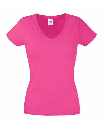 Fruits of the Loom T-shirt col V pour femme Rose - Fuchsia