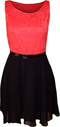 Comfiestyle - Robe - Patineuse - Sans Manche - Femme Coral & Black