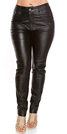 on sale fair price designer fashion Rose Player Curvy Girls Stylish Plus Size Leather Look Black Trousers UK 12  14 16 18 20