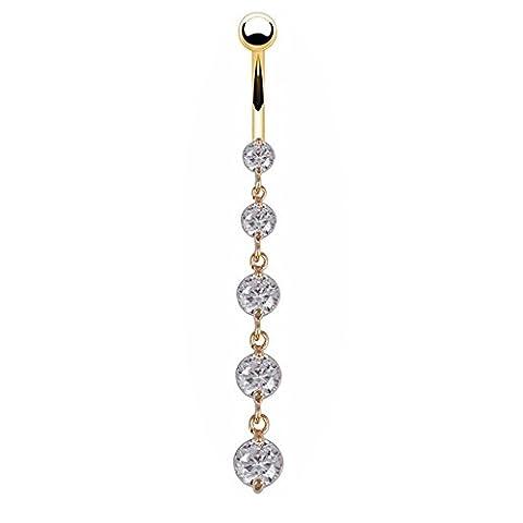 bodya délicat plaqué or 5tchèque cristal Zircon avec Dangle Piercing Nombril pour nombril Barre Piercing Sexy