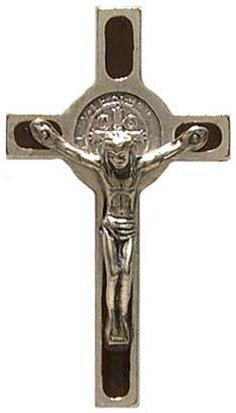 St-SAINT-BENEDICT-CRUCIFIX-Exorcism-Protect-Evil-Catholic-Badge-Brooch-Lapel-Pin-Brooch-BLACK
