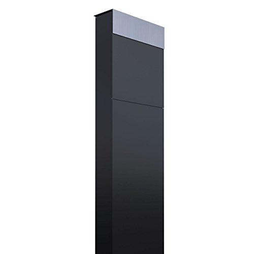 Standbriefkasten, Design Briefkasten The Box Schwarz/Edelstahl - Bravios