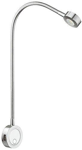 Flexible LED-Leuchte Anbauleuchte Leseleuchte Bettleuchte 2034 Aluminium Chrom poliert | Nachttisch-Lampe mit integrierter 2-fach USB-Ladestation | LED-Lampe mit integrierten Druckschalter für 2 Helligkeitsstufen | Möbelbeschläge von GedoTec® (12v Flexible Leseleuchte)