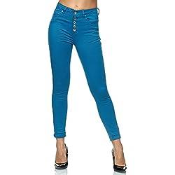 Elara Jeans Taille Haute Femme Slim Fit avec Boutons Chunkyrayan P085-8 Blue-40 (L)