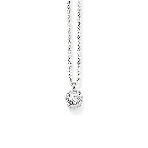THOMAS SABO Damen-Kette mit Anhänger 925 Silber Zirkonia weiß Brillantschliff 42 cm - SCKE150153