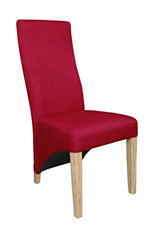 Shankar Enterprises Baxter Linen Effect Chair with Natural Laqcuer, 106 x 47 x 63.5 cm, Set of 2,
