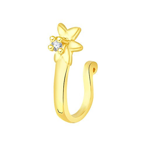 VK Jewels Gold Plated Alloy CZ American Diamond Pressing Nose Ring,Nose Pin for Women - [VKNR1025G]  available at amazon for Rs.159