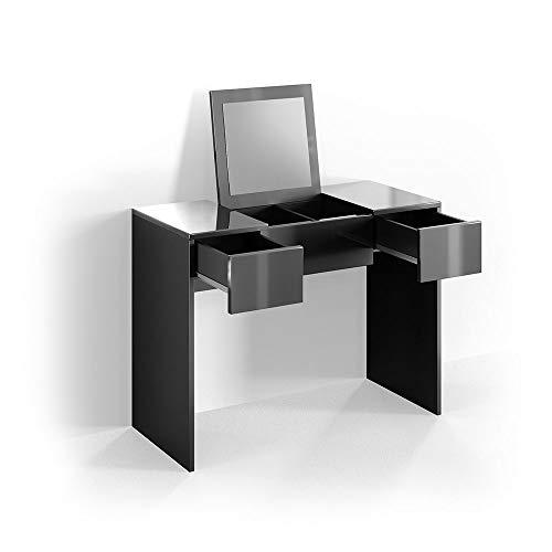 Vicco Schminktisch MIA 76 x 100 cm schwarz hochglänzend - Frisiertisch Kommode Spiegel +++ Schminkkommode mit 2 Schubfächer und einklappbaren Spiegel +++ (schwarz)
