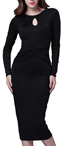 SunIfSnow - Maglietta - fasciante - Basic - Maniche lunghe  - donna Black (Tiered Circle)