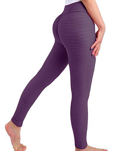 FITTOO Leggings Mallas Mujer Pantalones Deportivos Yoga Alta Cintura Elásticos y Transpirables1490#2 Morado Chica
