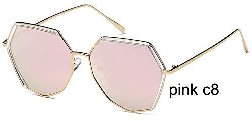 LKVNHP Marke unregelmäßigenRahmen Silber Hexagon Sonnenbrille polarisierte männer ModeAnti-reflektierendefahrbrille FrauenmitBox wpgj119 rosa c8
