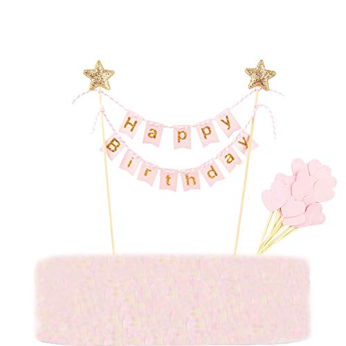 Callaia Happy Birthday Cake Topper Banner Bunting Pink, Kuchen Toppers Banner Rosa, Herzform Cupcake Toppers Geburtstag Party Dekoration (Set of 31) (Party Für Name Banner Geburtstag)