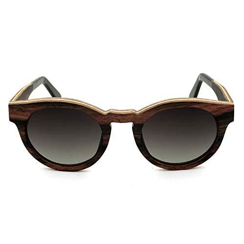 Easy Go Shopping Hochwertige Vintage holzrahmen Sonnenbrille, polarisator objektiv Sonnenbrille Sonnenbrillen und Flacher Spiegel (Farbe : Grey Gradient)