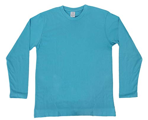 ILOVEFANCYDRESS ADULTS PLAIN TURQUOISE BLUE T-SHIRT 100% COTTON TOP LONGSLEEVED TEE SHIRT (SMALL - XX-LARGE)