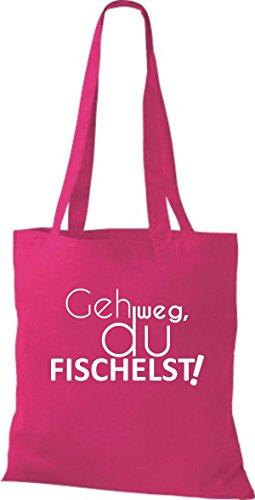 ShirtInStyle Stoffbeutel Baumwolltasche TYPO Geh weg du FISCHELST, Farbe Pink fuchsia