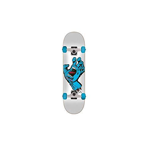 Santa Cruz Weiß Blau Screaming Hand - 7.25 Inch Skateboard Für Kinder Komplett (One Size, Weiß) (Screaming Hand Von Santa Cruz)
