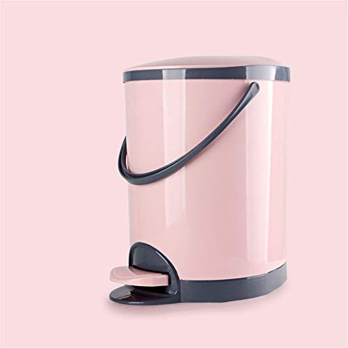 rt Mülleimer nach Hause Badezimmer Wohnzimmer Küche kreativ bedeckt mit Fuß Mülleimer Papierkorb (Pink,8.5L) ()