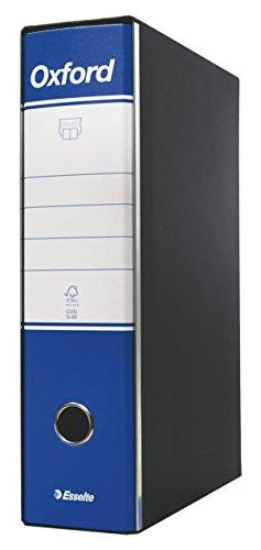 Esselte Raccoglitore Oxford con meccanismo a leva e con custodia, Formato Protocollo, Cartone, Dorso 8 cm, Blu, 390785050