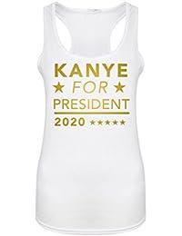 Kanye For President, 2020 - White - Women's Racerback Vest - Fun Slogan Tank Top