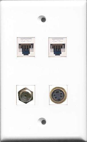 RiteAV-1Port Koax-Kabel TV-F- und 1Port S-Video 2Port Cat5e Ethernet weiß Wall Plate Flush Mount Wall Jack