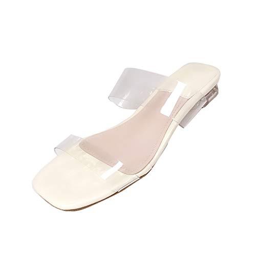 Wawer❤ -Sommer Mode Transparenter Kristall Quadratische Sandalen Schuhe mit niedrigem Absatz Schuhe -Sexy Frauen Espadrilles Lässig Sandalen Strandschuhe