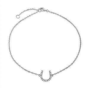 Bling Jewelry 925Sterling Silber CZ Hufeisen Equestrian Fußkette 9in