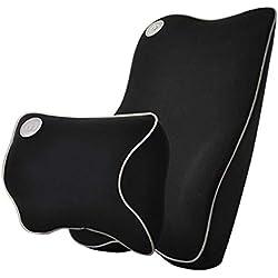 Support lombaire pour voiture et appuie-tête - Kit coussin de siège - Coussin de dos en mousse à mémoire de forme - Design érognomique universel pour siège auto avec soulagement de la douleur du dos
