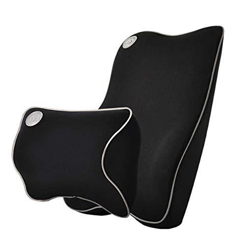 Soporte Lumbar Espalda Amortiguador & Reposacabezas Cuello Almohada Kit, Memoria Espuma Ortopédico...