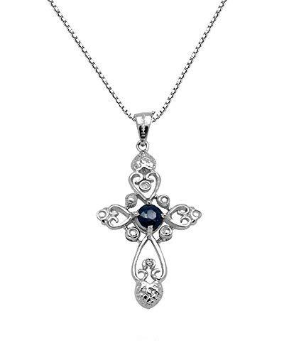 Collana con pendente da donna croce celtica con genuino zaffiro blu in argento sterling 925 / placcato oro, catenina veneziana da 46 cm -