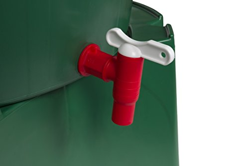 Kreher XL Regentonne 210 Liter aus Kunststoff in Grün. Mit sehr Robustem Monoblock Stand, Wasserhahn und Deckel mit Sicherheitsverschluss! Top Qualität