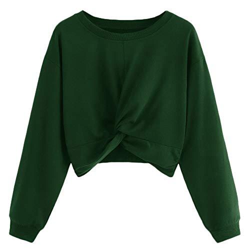 Qmber Frauen Langarm Pullover Damen Sweatshirt Bluse Frühling Herbst Crop Tops Patchwork Shirts Hemd Bluse Sweater Rundhals Twist Reine Farbe Verknotet Kurzer ()