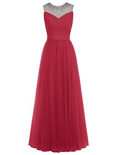 Bbonlinedress Robe de soirée Robe de demoiselle d'honneur en tulle forme empire longueur ras du sol Rouge Foncé
