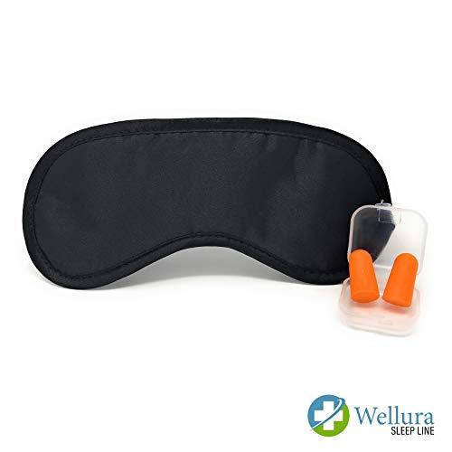 Hochwertige Schlafmaske mit Gratis Ohrstöpsel für Damen&Herren – Speziell entwickelte Schaumstoff Anti-Licht-Barrieren für komplette Dunkelheit - Weiche Maske mit einstellbarem Gummiband