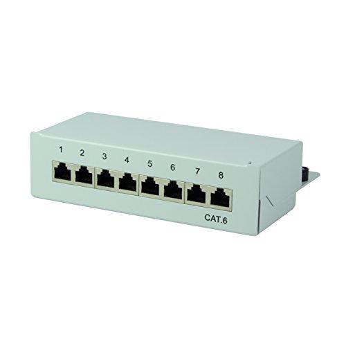 LogiLink Professional Cat.6 (250 MHz) Patchpanel - Verteilerfeld, Tisch/Wand/Desktop, STP (geschirmt) 8-Port (RJ45) Wand Home Desktop