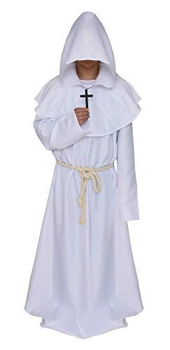 Weiß - Kostüm mit Kapuze Mönch Priester Mönch Mittelalter - Mann Frau Unisex - Verkleidung Karneval Halloween Cosplay Zubehör ()