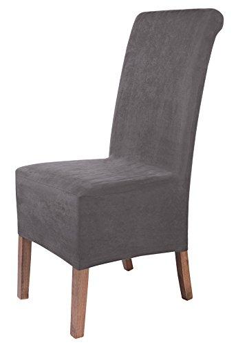 SCHEFFLER-Home Leon Stuhlhussen 2 Stück, Stretch-Hussen Stuhl-Bezug bi-elastische Schutz-Husse, Abdeckung mit Gummiband, Sitzhöhe bis 22-25 cm - Grau