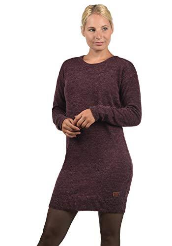 BlendShe Natti Damen Strickkleid Feinstrickkleid Kleid Mit Rundhals-Ausschnitt, Größe:XS, Farbe:Wine Yard (20068)