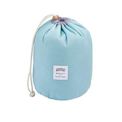 Amybria Drawstringschliessen Kosmetiktaschen Wasserdichte Kulturbeutel Mehrfach Zylindrische Makeup Aufbewahrungstasche Wäschesack ( Hellblau )