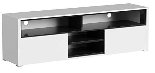 Selsey Meuble TV Bas Blanc/Noir 137 x 33 x 42,5 cm