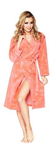 Luxus Frauen Kurz Baumwolle morgenmantel, Blumenmuster Bademantel Aprikose